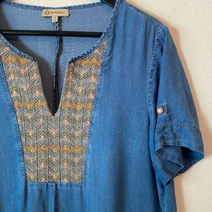 Democracy Blue Short Sleeve Shift Dress Embroidery